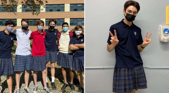 To protest against their school's sexist dress code 100 boys wore skirts