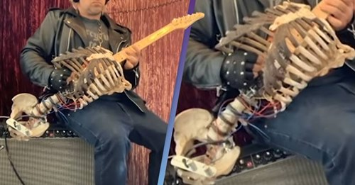 Musician decides to make a guitar from his uncle skeletons just to honor him