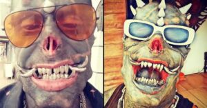 Human satan from Brazil with extreme modifications shares befoe and after pohotograph