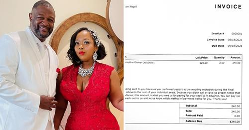 Newly married couples send $240 bill who were no-shows for their wedding ceremony